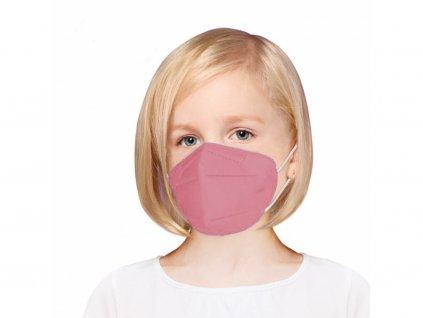 Gyermek légzésvédő maszk FFP2 rózsaszín - 5 db