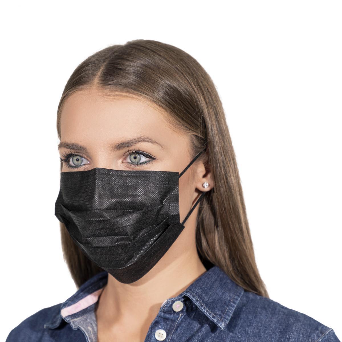 Čierne ochranné rúško na ústa chirurgické certifikované – 50 ks