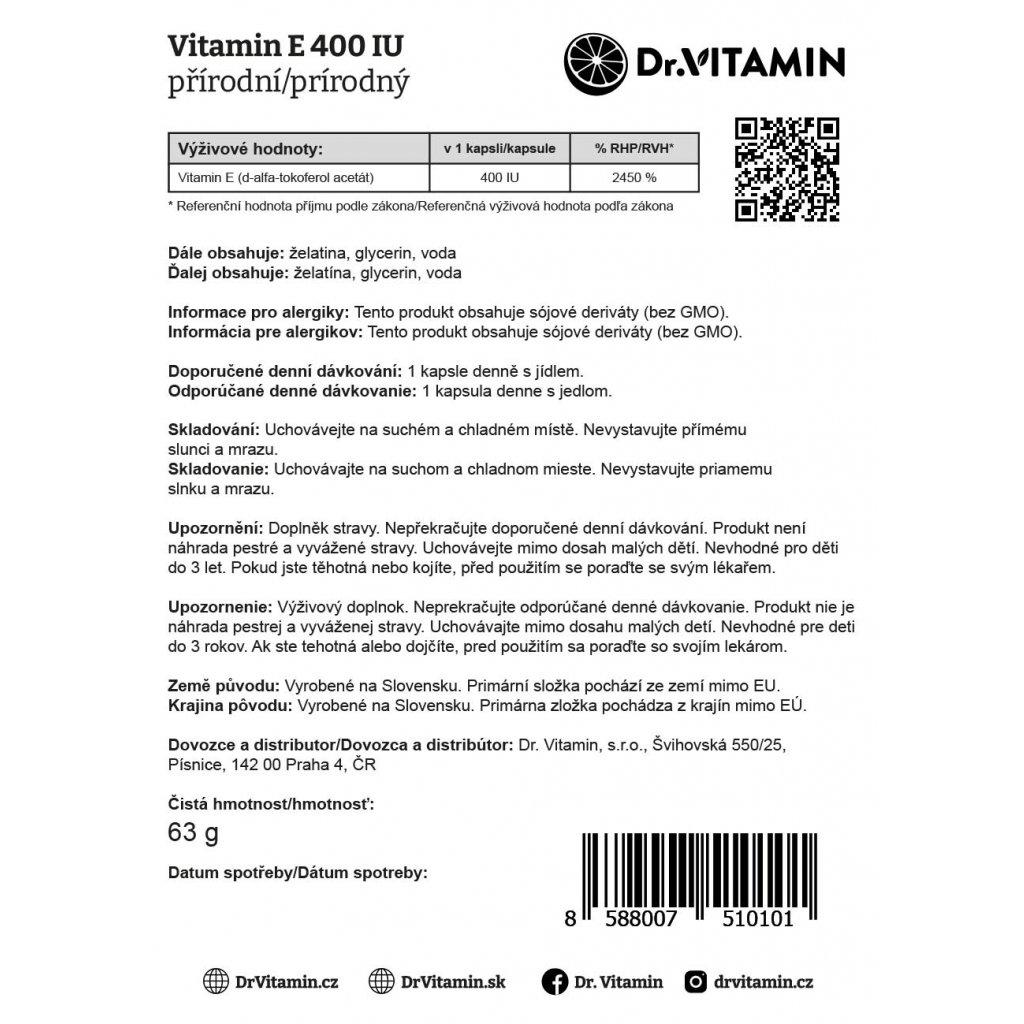 Vitamin E 400IU přírodní 100ks
