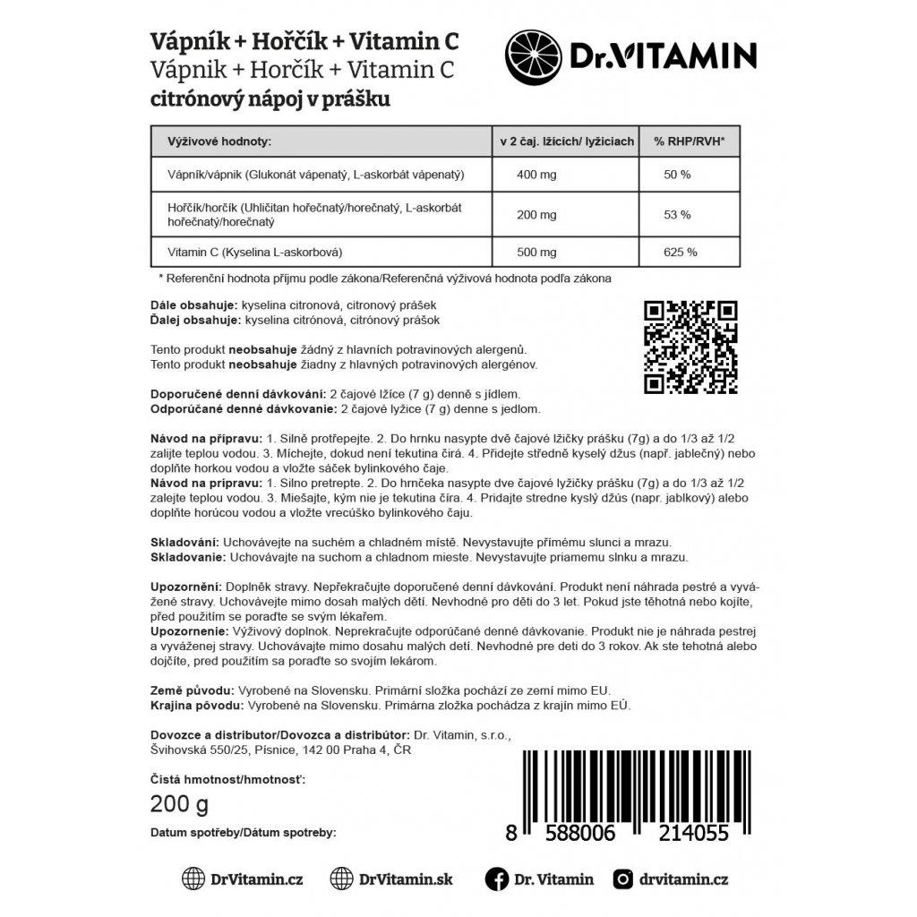 Vápník+Hořčík instantní 400/200mg + Vitamin C 500mg