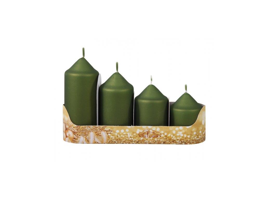 56213 svicka adventni stupnovita metalicka matna 4ks olivova