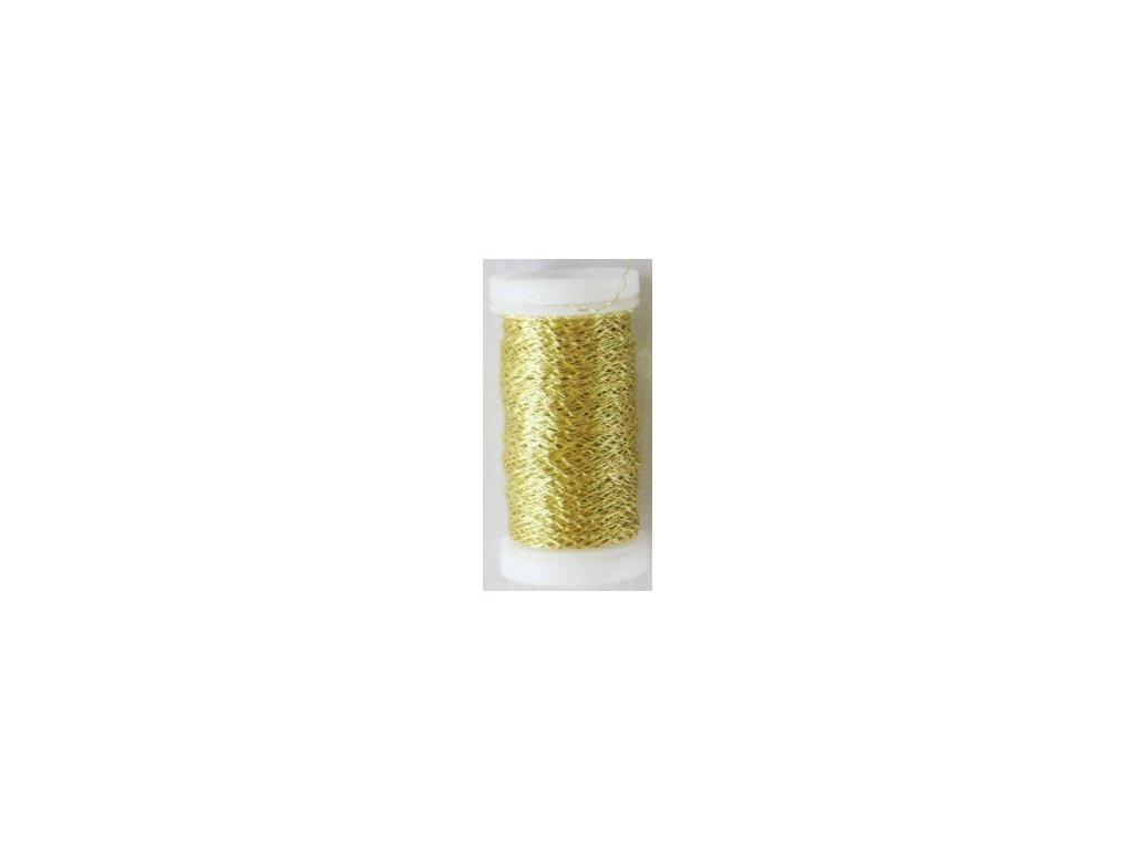 Drát dekorační zvlněný 0,3mm x 50g - zlatý