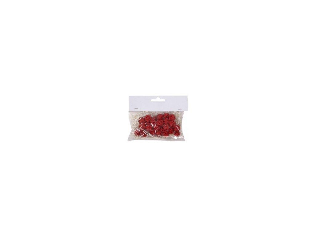 Koule aranžovací ratanová 1,5cm (24ks) - červená