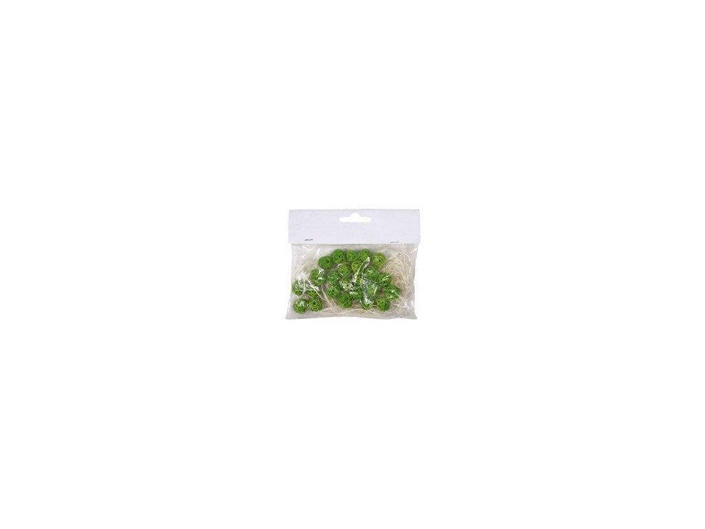 Koule aranžovací ratanová 1,5cm (24ks) - zelená