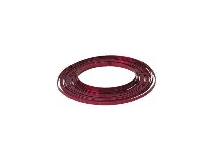 Drát dekorační hliníkový plochý 5mm x 10m - červený