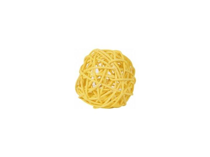Koule aranžovací ratanová 8cm - žlutá