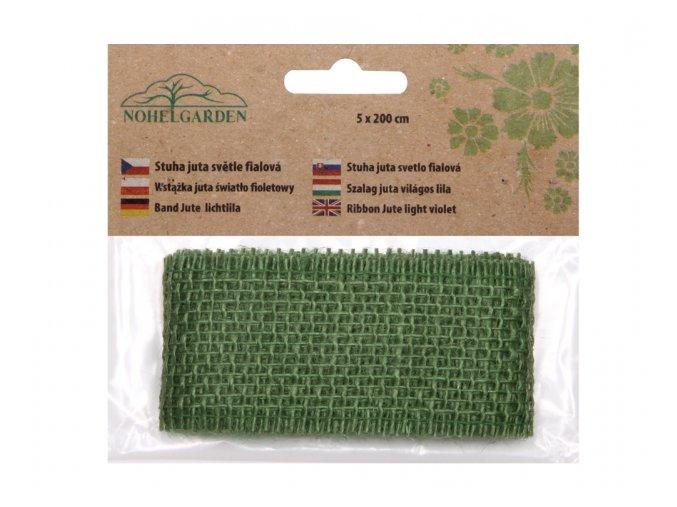 Stuha JUTA tmavě zelená šířka 5cm délka 2m