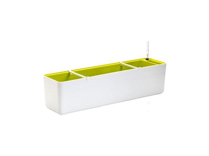 Truhlík samozavlažovací Berberis - bílá + zelená 80 cm