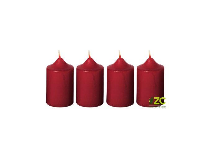 Svíčka adventní 4x6cm - bordó (4ks)