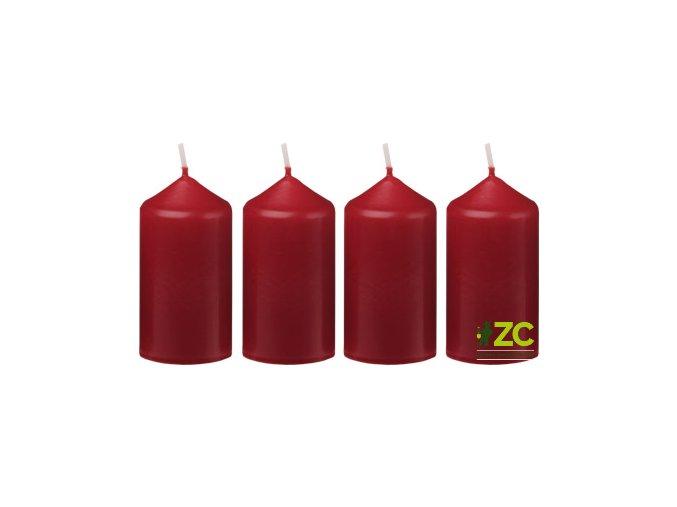 Svíčka adventní 4x7,5cm - bordó (4ks)
