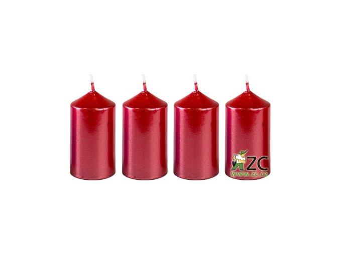 56045 svicka adventni 4x7 5cm metalicka cervena 4ks