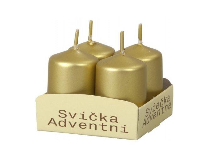 56117 svicka adventni metalicka leskla 4x6cm zlata 4ks