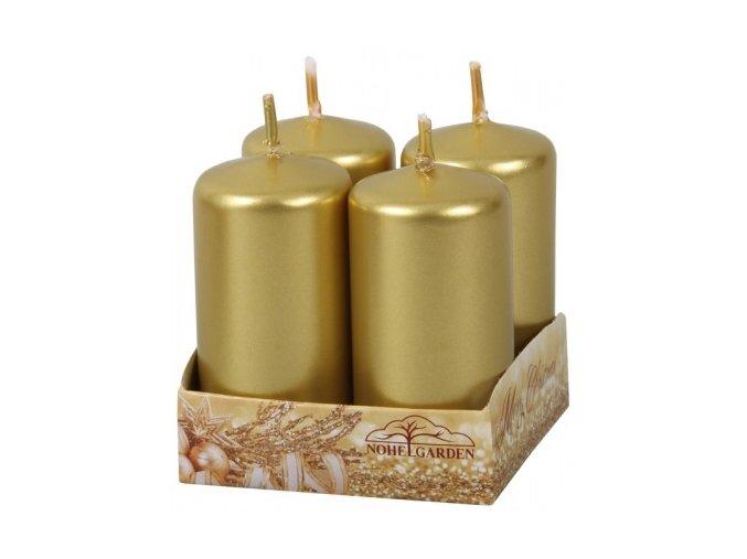 56174 svicka adventni metalicka leskla 4x8cm zlata 4ks