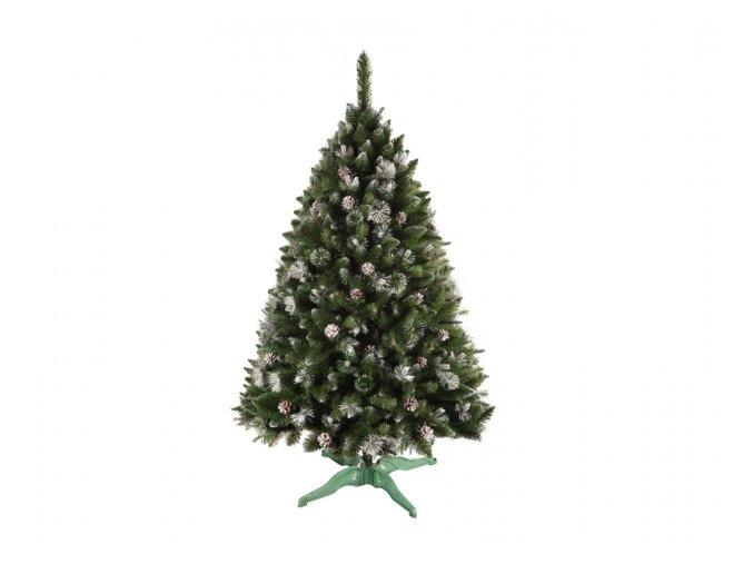 Stromek BOROVICE vánoční umělý+šišky a stříbrné konce 220cm