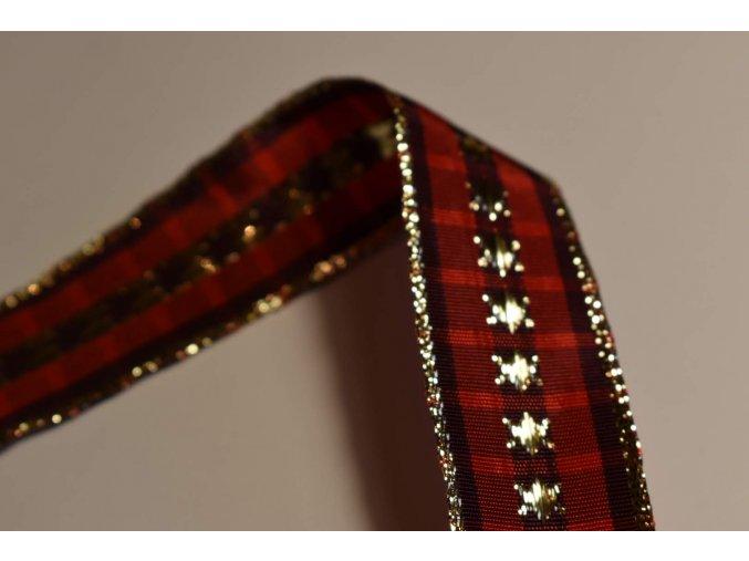 Stuha červená kostka zlatá hvězda 2,5 cm x 2,5 m