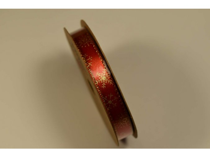 Stuha na cívce červená zlatá vločka 1 cm x 10 m