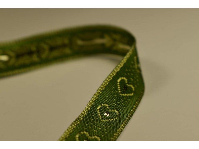 Stuha zelená zelené  srdce 1,5 cm x 2,5 m