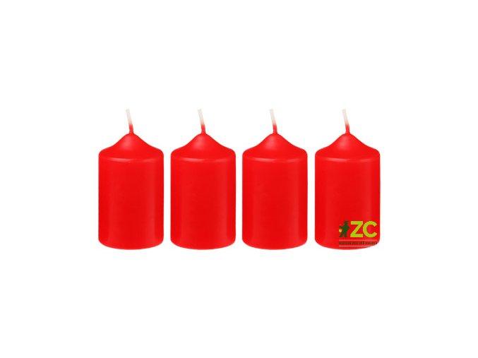 Svíčka adventní 4x6cm - červená (4ks)