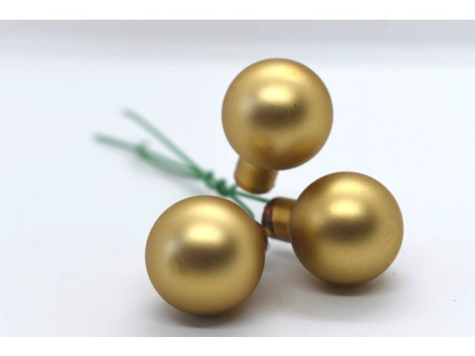 baňky na drátku 3ks - zlatá matná