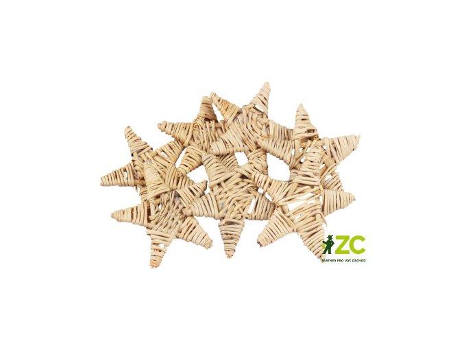 Dekorace - Lata ve tvaru hvězdy 8cm 4ks - přírodní
