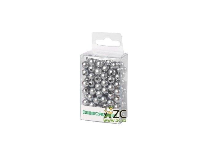 Dekorační perly 8mm (144ks) - stříbrné