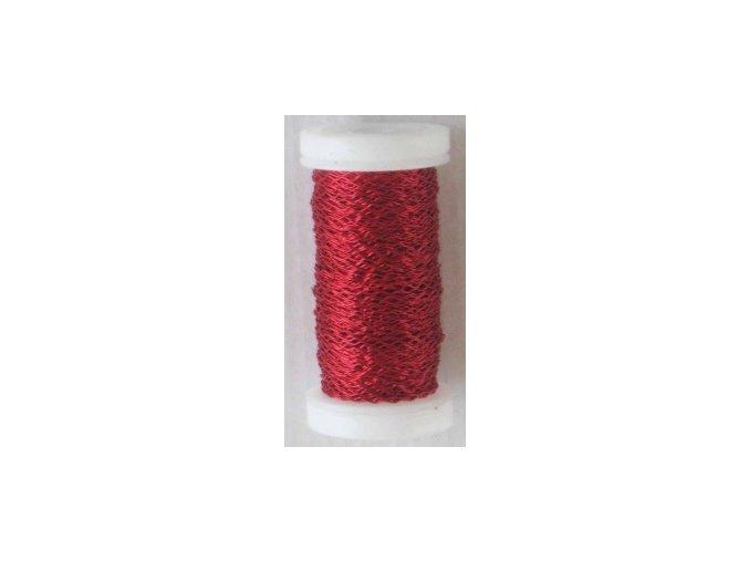 Drát dekorační zvlněný 0,3mm x 50g - červený