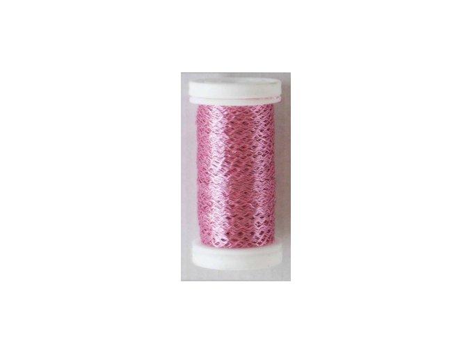 Drát dekorační zvlněný 0,3mm x 50g - světle růžový
