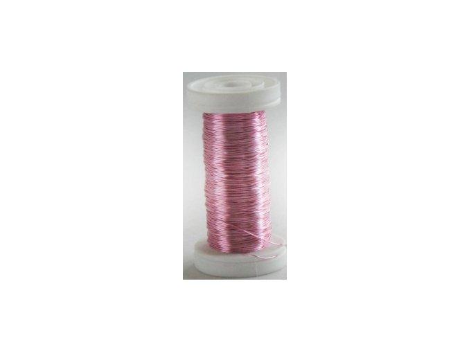 Drát dekorační měděný 0,3mm x 50g - růžový
