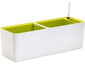 Truhlík samozavlažovací Berberis - bílá + zelená 60 cm
