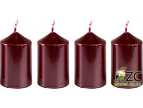 55991 svicka adventni 4x6cm metalicka bordo 4ks