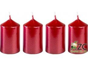 55994 svicka adventni 4x6cm metalicka cervena 4ks