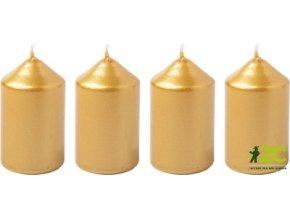 Svíčka adventní 4x6cm - metalická zlatá (4ks)
