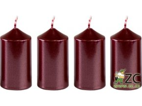 56042 svicka adventni 4x7 5cm metalicka bordo 4ks