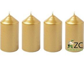 56054 svicka adventni 4x7 5cm metalicka zlata 4ks