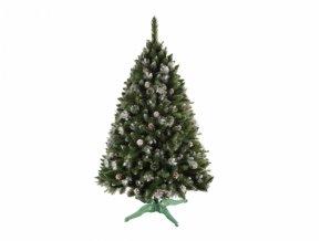 Stromek BOROVICE vánoční umělý+šišky a stříbrné konce 160cm
