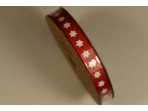 Stuha na cívce červená bílá hvězda 1 cm x 10 m