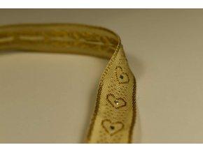 Stuha béžová zlaté srdce 1,5 cm x 2,5 m