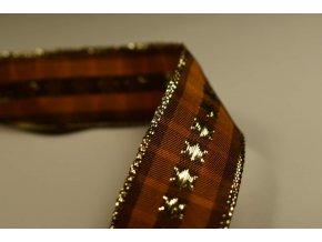 Stuha hnědá kostka zlatá hvězda 2,5 cm x 2,5 m