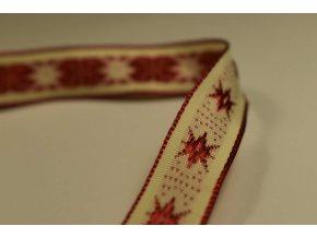 Stuha bílá červená hvězda 1,5 cm x 2,5 m