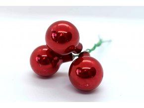 baňky na drátku 3ks - červená lesklá