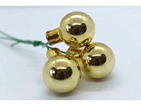 baňky na drátku 3ks - zlatá lesklá