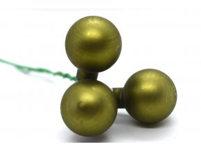 baňky na drátku 3ks - zelená matná