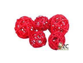 Dekorace - Lata Ball 4cm 4ks - červený