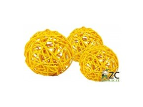 Dekorace - Lata Ball 3cm 4ks - žlutý