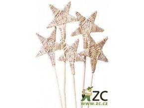 Dekorace - Lata ve tvaru hvězdy 8cm na tyčce 2ks - přírodní