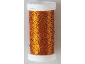 Drát dekorační zvlněný 0,3mm x 50g - oranžový