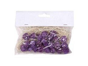 Koule aranžovací ratanová 1,5cm (24ks) - sv. fialová