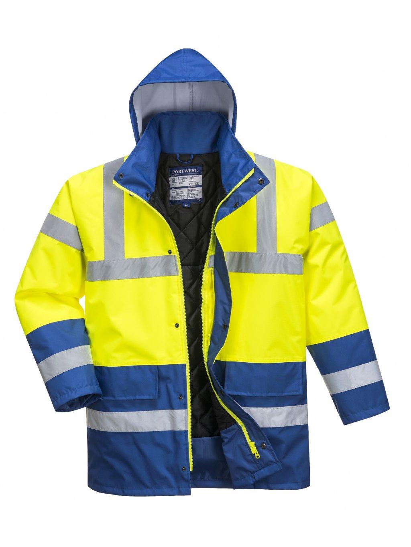 Reflexná zimná bunda žlto-modrá