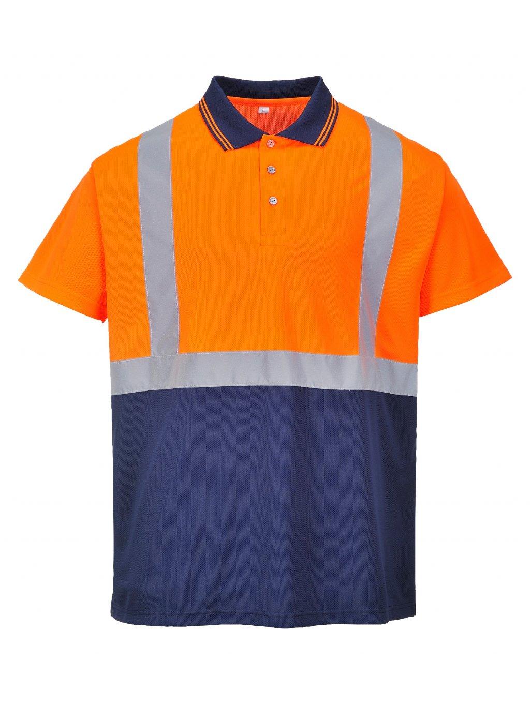Polokošeľa S479 oranžovo-modrá