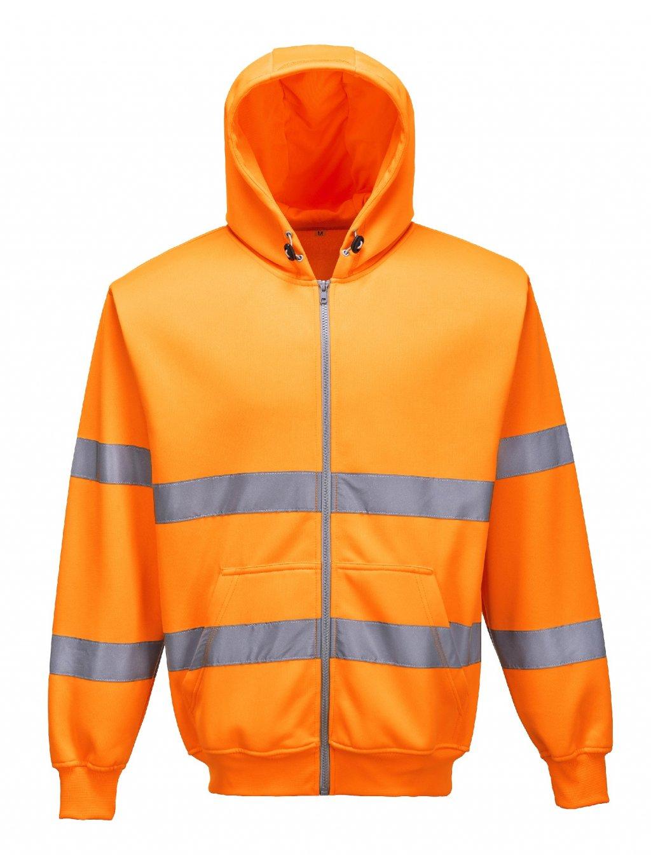 Mikina reflexná na zips oranžová